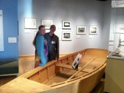 Gary and Karen Davis with pole skiff Gary built - Workboats of Core Sound exhibit