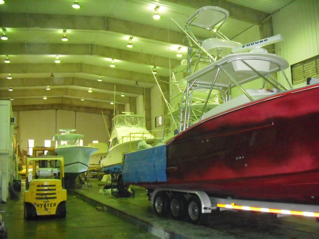 In the paint prep building we are preparing a 48′ Hatteras motor yacht ...