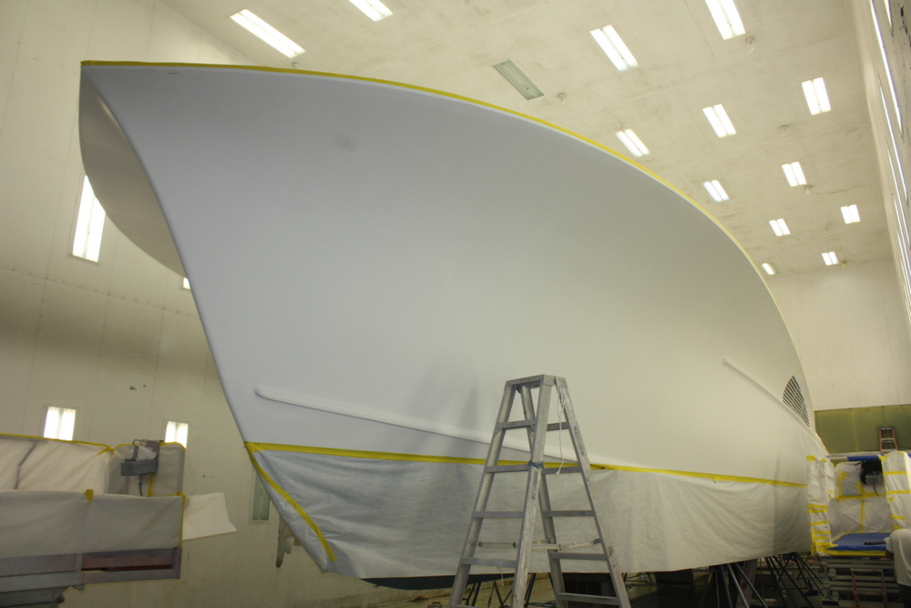 The 58′ Jarrett Bay Hull #43 is undergoing a full refit for her new owner, ...