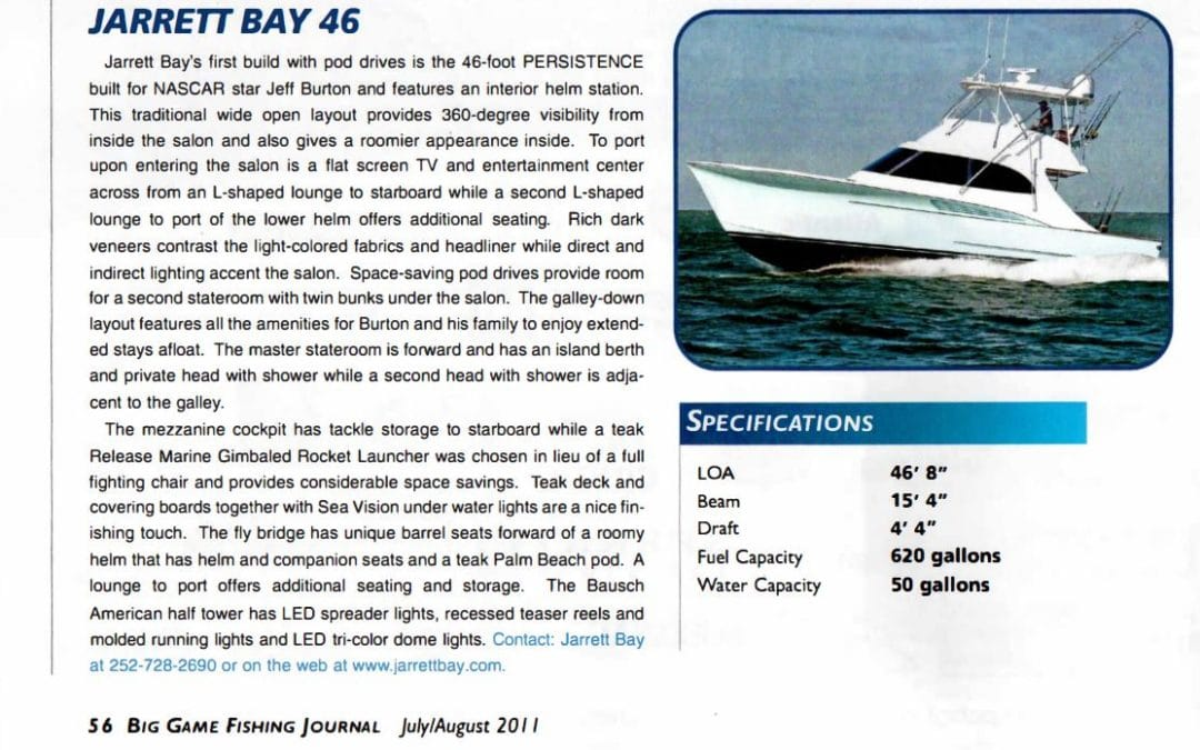 Jarrett Bay 46 Featured in Big Game Fishing Journal
