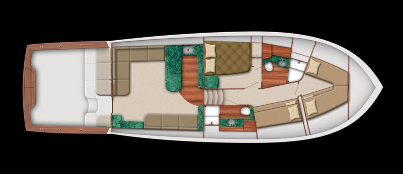 Jarrett Bay 53 - Interior Layout with fiberglass cockpit & mezzanine