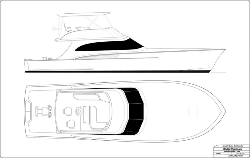 53' with interior helm - exterior arrangement