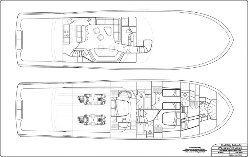77' with full beam master stateroom and bow crew quarters