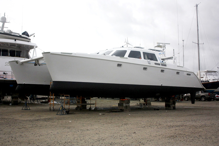 "Fresh Paint for this 50′ Sailing Catamaran ""Papillon"""